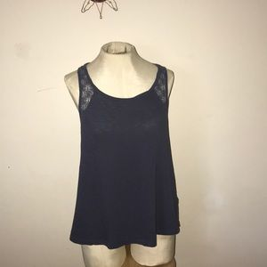 Splendid blue sleeveless back zipper top sz L